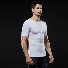 Wholesale posture vests resale online - Men s Tight Chest Shaper Lose Weight Slim Vest Tops Reduce Belly Stomach Shapewear Posture Corrector Bodysuits
