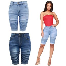 women skinny knee length shorts NZ - 2020 Women Skinny Jeans Biker Short Jeans Cuffs Knee Length Middle Waist Casual Slim Fit Female Trousers Free Shipping