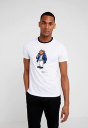 Wholesale captain t shirt for sale – custom US SIZE cotton white tshirt de designer t shirts Martini bear Hockey bear Skiing Captain USA pattern