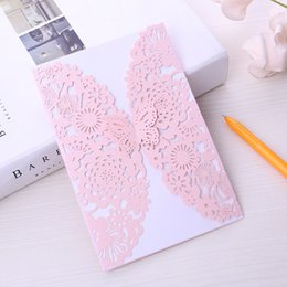 post card envelope wholesale Australia - wedding invitations laser cut wedding invitations cards chinese wedding invitations flowers greeting cards with Inside and Envelope label