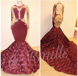 Discount gorgeous open back dresses - Gorgeous Burgundy Rose Flowers Mermaid Prom Dresses Sheer Long Sleeves Lace Appliques Open Back Evening Gowns