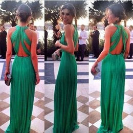Discount lace emerald long dresses Emerald Green Evening Dresses Long Sexy Prom Dress Criss Cross Open Back Ruched Chiffon Custom Made Celebrity Red Carpet