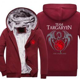 Coating Thickness Australia - 2018 New Thickness Game of Thrones House Targaryen Jacket Sweatshirts Thicken Hoodie Zipper Coat USA size -C
