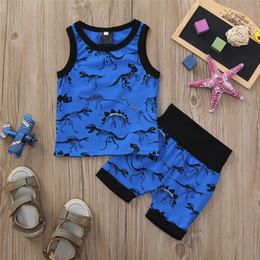 High Quality Vest Australia - 100%Cotton Telotuny Baby Boy Girl Clothing Set High Quality Baby sleeveless dinosaur print top vest shorts two-piece suit JU