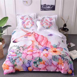 $enCountryForm.capitalKeyWord Australia - Unicorn Bedding Set Watercolor Cartoon Duvet Cover Pillowcase Twin Queen Size Kids Bedroom Bed Cover Home textile