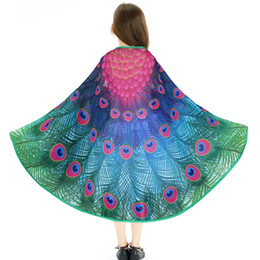 wings for babies 2019 - 30 Packs Special 120*70 cm Peacock Wing Costumes Party For Girls Carnival Shawls Wedding Decoration Party Baby Gifts Fav