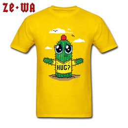 f21c3792ee1 Cactus Hug T-shirt Men Funny T Shirts Yellow Tops Summer Cute Cartoon Tshirt  100% Cotton Clothing Pixelated Graphic Tees