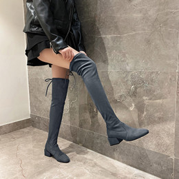 $enCountryForm.capitalKeyWord Australia - YMECHIC 2019 New Lace Up Thigh High Boots Block Chunky Heels Gray Black Ladies Long Faux Suede Slim Knight Boots Winter Shoes