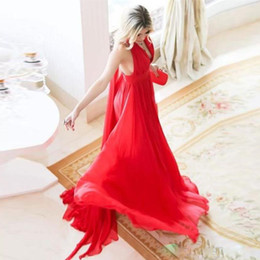 $enCountryForm.capitalKeyWord Australia - Bohemian Red Long Bridesmaid Dresses V Neck Backless Draped Chiffon Wedding Guest Dress Sweep Train Plus Size Prom Gowns