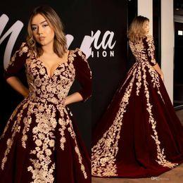 Black velvet evening dress prom online shopping - Kaftan Caftan Burgundy Velvet Evening Dresses Prom Dress Half Sleeve Gold Luxury Lace Applique Arabic Dubai Abaya Occasion Gowns