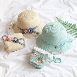 Discount straw tote bucket bag - Kids Beach Hats Bags Girls Princess Straw Caps Hadbags Flowers Sunbonnet Hat Tote Suits Summer Sun Lace Bucket Hat Party