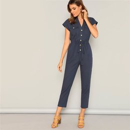 $enCountryForm.capitalKeyWord Australia - Navy Waist Drawstring Button And Pocket Front Solid Cap Sleeve Jumpsuit Women Summer Casual Highstreet Workwear Jumpsuits