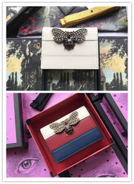 Fresh Glasses Australia - Genuine Leather Women Designer Wallet Queen Margaret leather card case glass pearls and multicolor crystal Bee flap purse with box dust bag