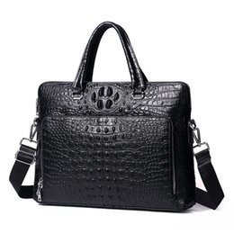 Pop Luxury 100% Cow Genuine Leather Business Men s Briefcase Male Alligator  Shoulder Bag MenMessenger Bag Tote Computer Handbag 8ea455a0594ac