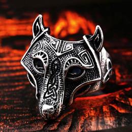 $enCountryForm.capitalKeyWord Australia - Vintage Wolf Head Ring Norse Viking Nordic Alloy Finger Rings For Men Unique Biker Punk Animal Jewelry