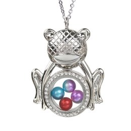$enCountryForm.capitalKeyWord Australia - Silver Plated Frog Magnetic Open Glass Locket Pearl Cage Pendant Floating Living Memory Charms With Stainless Steel Chain