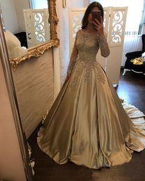 14 gold charm 2019 - Charming Gold Appliqued Prom Dresses Long Sleeve Lace Evening Party Gowns Sequined Satin Bateau Pageant Gowns Red Carpet