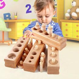 Education online shopping - Children Building Blocks Socket Cylinder Intelligence Toys Early Education Wooden Block Kindergarten Alpinia Boy And Girl bj D1