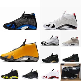 Wholesale Mens retro aj s basketball shoes aj14 SUP Black Blue White Diamond high top air flights j14 jumpman sneakers boots with box size