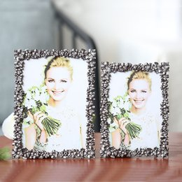 Design Photo Frames Australia - Antique Pewter White Flower Design 4x6, 5x7 inches in Rectangle Shape Two Ways Metal Picture Photo Frame
