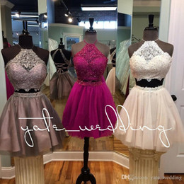$enCountryForm.capitalKeyWord NZ - 2018 Popular Two Piece Homecoming Dresses Jewel Halter Lace Tulle Criss Cross Back Brown Hot Pink Beige Short Prom Dresses Party Dresses