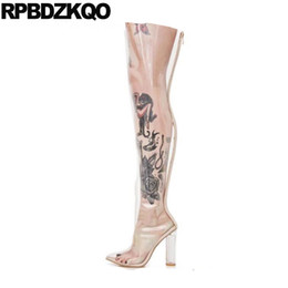 over knee pvc boots NZ - clear over the knee big size 13 45 crotch high dance shoes heel pvc thigh boots for plus women pointed toe chunky wide calf