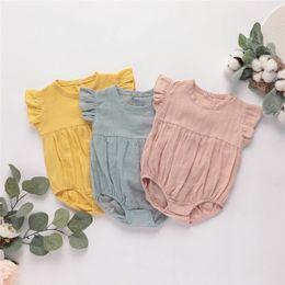 Organic Cotton Jumpsuit Australia - INS New Summer Toddler Baby Girls Rompers INS Linen Organic Cotton Ruffle Short Sleeve Blank Jumpsuit Kids Bodysuit Baby Romper 0-2T