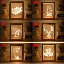 Christmas deCor for tables online shopping - 3D Photo Frame Night Light USB D Illusion LED Fantastic Wooden Table Lamp For Bedroom Living Room Art Decor Christmas Gifts