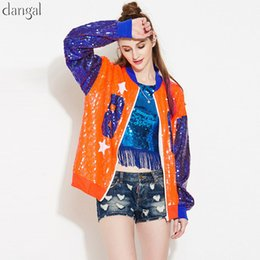 Discount cool club clothes - Dangal Sequin Jacket Women Sequin Coat Number Silver Green Jacket Women Cool Coat Long Sleeve Zipper Party Club Clothes