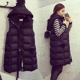 Plus Size Winter Vests Australia - Sleeveless Down Cotton Coat Long Zipper Women Vest Plus Size Fashion Waistcoat Female Medium And Long Warm Winter Jacket Women