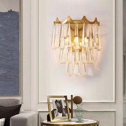 gold wall lighting NZ - Luxury American creative crystal wall lamps wall lighting fixture gold wall mount lights led sconce light for bedside hallway ktichen