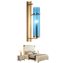 sconce bronze Australia - Creative Design Wall Sconce Lighting Blue Glass Lampshade Wall Lamp Gold Bronze LED Wall Light Fixture For Bedroom 90-265V