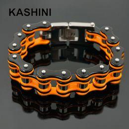 $enCountryForm.capitalKeyWord NZ - Punk Orange Bicycle Bike Bracelets & Bangles Motorcycle Chain Men's Black Bracelet Men Stainless Steel Biker Men Jewelry MX190727