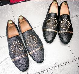 Man Rivet Shoes Australia - Men Silver Black Rivet Dress Italian Shoes Slip On Men Leather Moccasin Glitter Formal Male Shoes Pointed Toe Shoes For Men