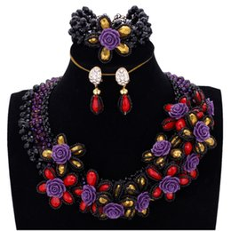 $enCountryForm.capitalKeyWord Australia - wholesale Black & Purple Jewellery Set African With Red & Gold Flowers Women Wedding Jewelry Sets Free Shipping Nigerian Bead