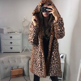 Wholesale ladies fur coats for sale - Group buy Leopard Printed Women Long Coat Winter Plush Warm Faux Fur Hoodie Jackets Outerwear Fashion Ladies Loose Hooded Coats Overcoat