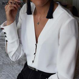 $enCountryForm.capitalKeyWord NZ - Wotwoy Long Sleeve White Casual Chiffon Blouse Shirt Women Spring Summer Kimono Tunic Tops Feminino Blusas Harajuku Q190509