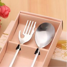 Spoon Forks Kids Australia - Heart Shaped Fork Spoon Set Silverware Stainless Steel Flatware Girls Kids Cutlery Set 2pcs Love Wedding Favor LLA288