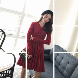 women s sexy sweater NZ - New Red Sweater Knitted Dress Women Autumn Fashion Elastic Slim Dresses Sexy Long Sleeve Ladies Bodycon Pleated Dress Vestidos