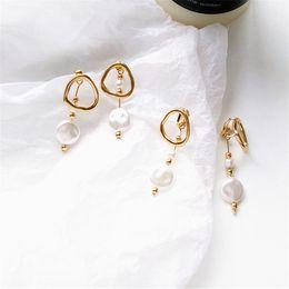 Irregular pearl earrIngs online shopping - Korea Design Metal Gold Geometric Irregular Circle Square Pearl Earrings for Women Girl Gift earrings