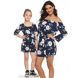 romper kids jumpsuit NZ - Mother Girl Twinning Jumpsuit Floral Mom Daughter Romper Women Dress 1-9Year Kids Girls Dress 2020 Family Match Outfits S585