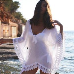 cover ups for summer Australia - Sexy Ladies Beach Cover Ups Sexy Summer For Women White Lace Blouse Shirts Summer Swimwear Bathing Suit V neck Mini Dresses
