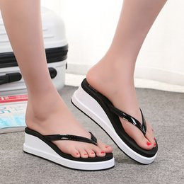 thick soled canvas shoes 2019 - Jaycosin The New Female Summer Wedges Heeled Flip-Flops Thick-Soled Slippers Leisure Beach Shoes 2019 May22 p35 cheap th