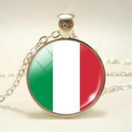 pendant cabochon NZ - New Arrival Trendy Time Gem Glass Cabochon Italy National Flag World Cup Football Fan Lucky Women Men Pendants Necklace Chain Choker Jewelry