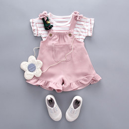Baby Girl Summer Suits Australia - summer Baby girl Clothing Sets Girl Casual cute cotton short sleeve T-shirt+strap shorts 2pcs Baby suit