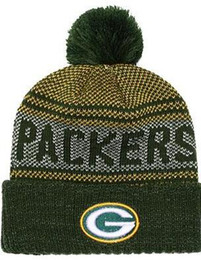 Cuffed Knit Beanies UK - Top Selling Green Bay beanie GB beanie Sideline Cold Weather Reverse Sport Cuffed Knit Hat with Pom Winer Skull Cap