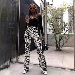 $enCountryForm.capitalKeyWord NZ - Fashion Zebra Animal Print Wide Leg Pants Women Fall Winter Casual Trousers Sexy High Waist Bell Bottom Pants