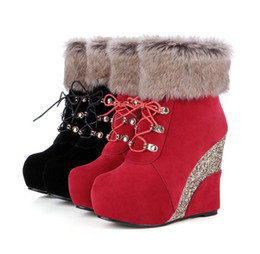 faux fur booties women NZ - fashion luxury designer women shoes woman ankle booties sequined platform wedge high heel fur boots size 33 to 42 43 A322