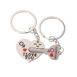 $enCountryForm.capitalKeyWord Australia - Lovers Alloy Heart Shaped Key Keychain NEW Cupid Arrow Couple Key Chain Lovers Pendant Key Ring Children Gift