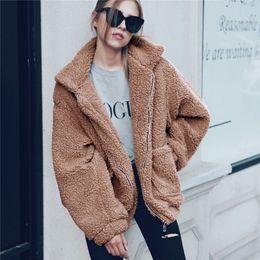 Wholesale lining soft jacket resale online – Elegant Faux Fur Coat Women Autumn Winter Thick Warm Soft Fleece Jacket Pocket Zipper Outerwear Overcoat Bear Teddy Coat T190827